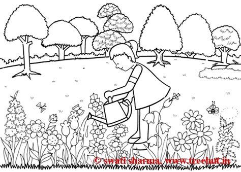 coloring pages of garden scene spring garden coloring pages