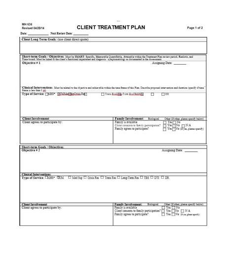 treatment plan template social work treatment plan template social work free 35 treatment plan