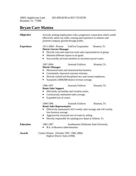sle of resume for application one page route sales representative resume template