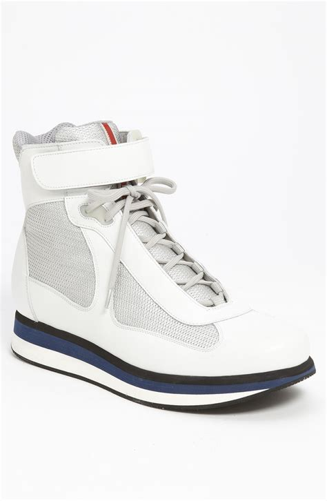 prada americas cup sneaker prada americas cup high top sneaker in white for lyst