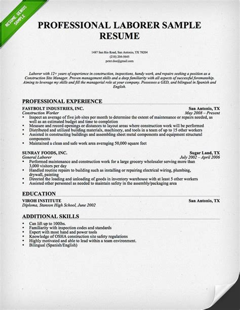 resume template for laborer construction worker resume sle resume genius