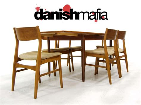 mid century modern teak dining table chair set