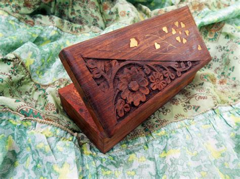 Handmade Wooden Treasure Chest - box wooden jewelry carved handmade balinese home decor