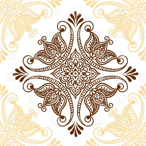 flower tattoo vector free ornamental mehndi style flower indian ethnic tracery for