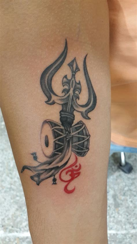 shiva tattoo design trishul damru with om dedicated to lord shiva for