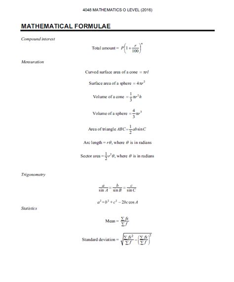 a level mathematics formulae black and white books o level maths standard formula sheet kenneth