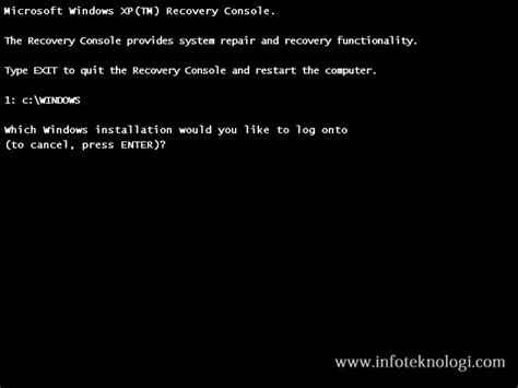 reset password xp recovery console default windows xp administrator password recovery console