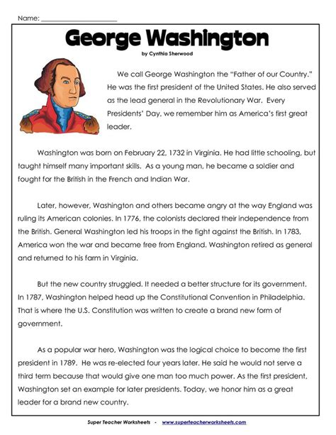 biography george washington for elementary students worksheet esl civics worksheets hunterhq free printables