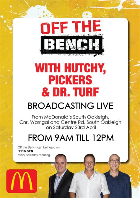off the bench sen s off the bench at south oakleigh mcdonalds smjfl
