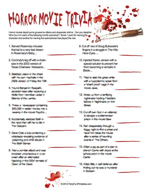 horror film quiz horror movie trivia who dun it party fun printables