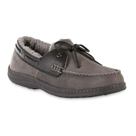 mens slippers at sears craftsman s gray moccasin slipper