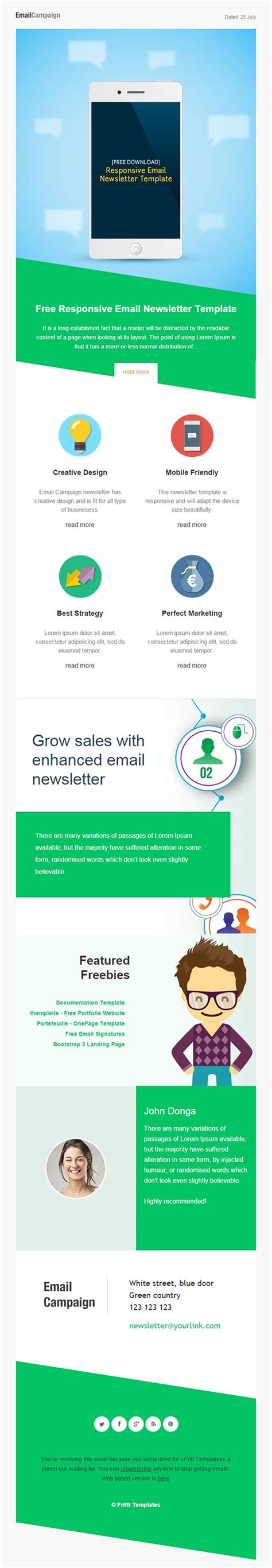 Responsive Email Newsletter Template Free Download On Behance Free Mailchimp Newsletter Templates