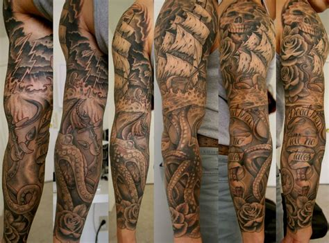 pirate ship map and compass tattoos on half sleeve