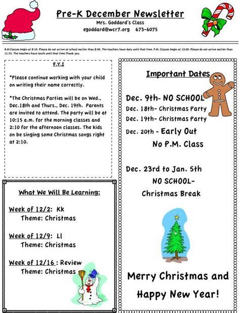 december pre k newsletter mrs goddard preschool