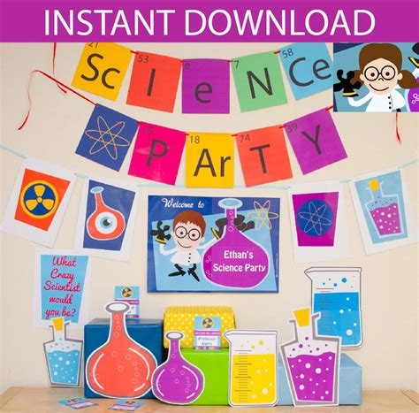 free printable party kits decorations science party decorations props printable kit instant