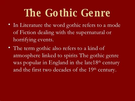 Introduction To The Gothic Genre