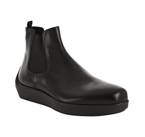 prada mens ankle boots prada black leather platform ankle boots in black for