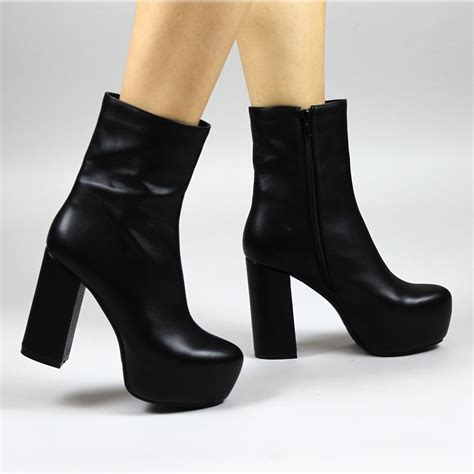 Platform Block Heel Ankle Boots grey high platform ankle boots toe block heel