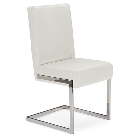 Baxton Studio Toulan Modern and Contemporary White Faux Leather Upholstered Stainless Steel