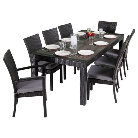 Shop Rst Brands Deco 9 Espresso Composite Material Rst Brands Deco 9 Patio Dining Set With Charcoal