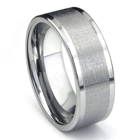 tungsten carbide 9mm di seta finish wedding band ring