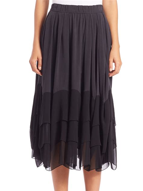 dkny tiered ruffled midi skirt in black lyst