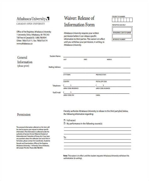 Credit Waiver Form Usda 22 Free General Release Of Information Form