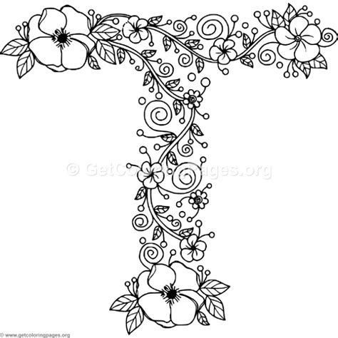 Letter T Coloring Pages For Adults by Floral Alphabet Letter T Coloring Pages Getcoloringpages Org