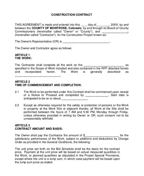 Contract Agreement Format For Construction C45ualwork999 Org Construction Contractor Contract Template