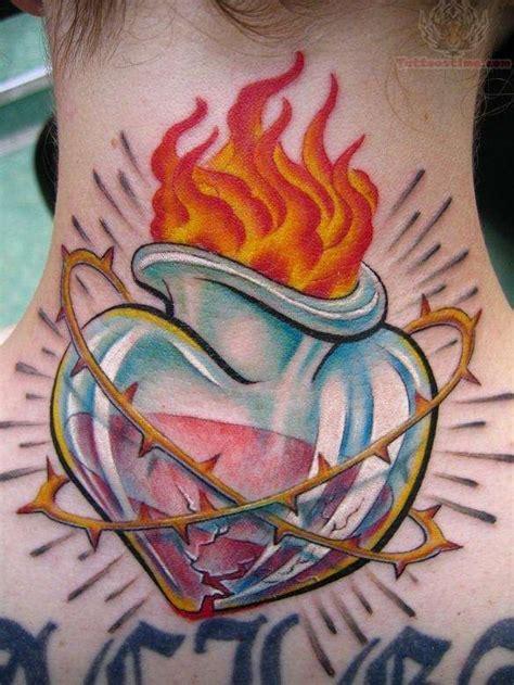 new tattoo lotion burning burning sacred heart tattoo on back neck tattoos