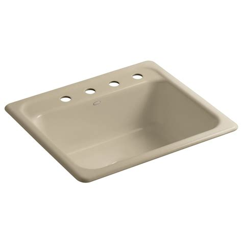 shop kohler mayfield single basin drop in enameled cast