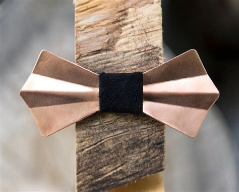 Handmade Tie - copper metal bow tie copper handmade adjustable unique
