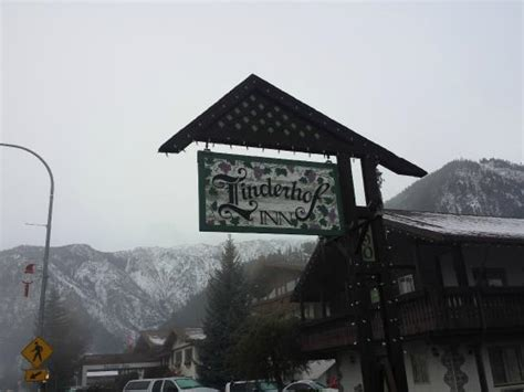 linderhof inn linderhof sign overcast conditions picture of