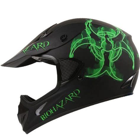 cool motocross helmets bio hazard matte black atv dirt bike motocross motorsports