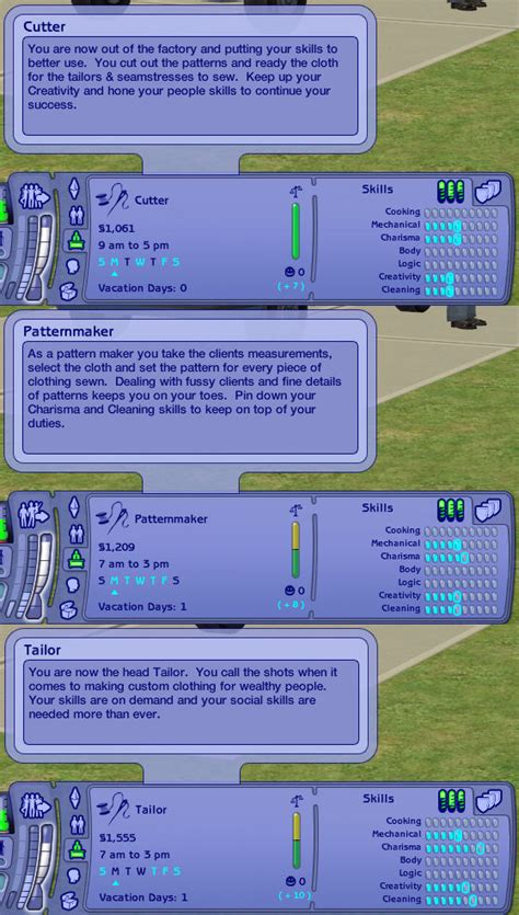 pattern maker description mod the sims textiles career