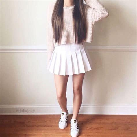 sweater pink top white white skirt pleated skirt
