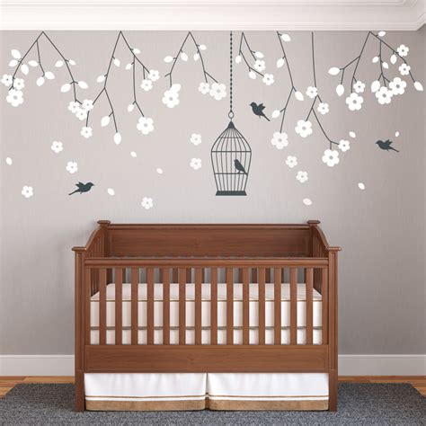 Nursery Hanging Blossom Branches Wall Sticker Vinyls Nursery Wall Decals Uk