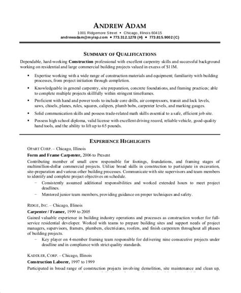Resume Writing Tips For Construction Workers Printable Resume Template 29 Free Word Pdf Documents Free Premium Templates