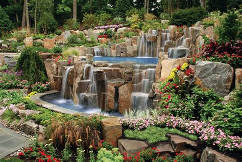 Rock Waterfalls For Gardens Landscaping Nj
