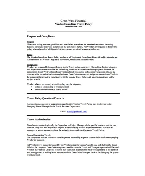 9 Travel Policy Templates Sle Templates Travel And Expense Policy Template