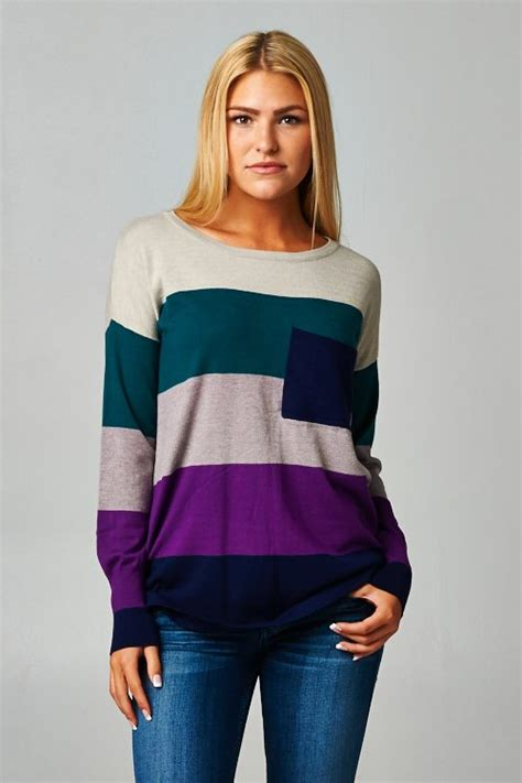 stitch colorblock knit fit sweater