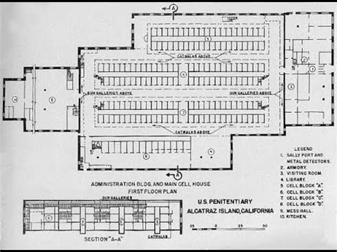 Floor Plans Examples by Prison Architect The Real Map Of Alcatraz Youtube