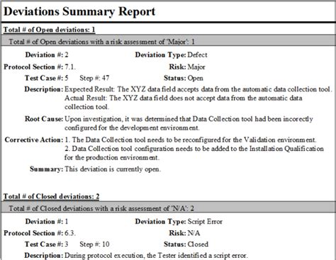 deviation report template fastval deviation tracking ofni systems