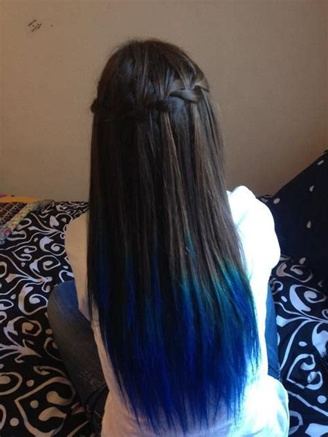 hairstyles to hide dip dyed ends royal blue dip dyed hair dip dyed waterfall braid all