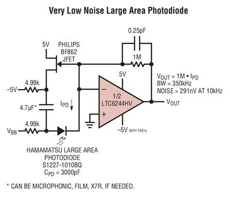 photodiode low noise lifier ltc6244 dual 50mhz low noise rail to rail cmos op linear technology