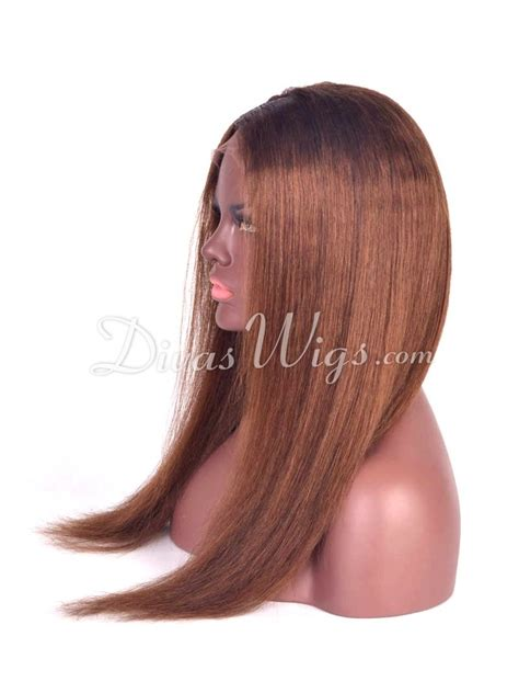 human hair enclosure front wigs in yaki texture brown silky straight celebrity