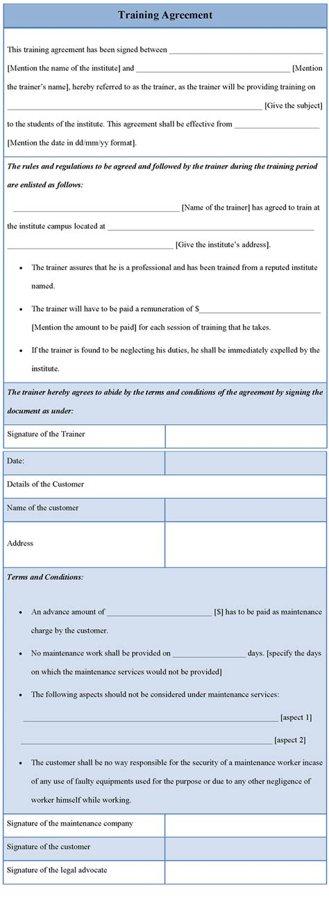 agreement template for training template of training