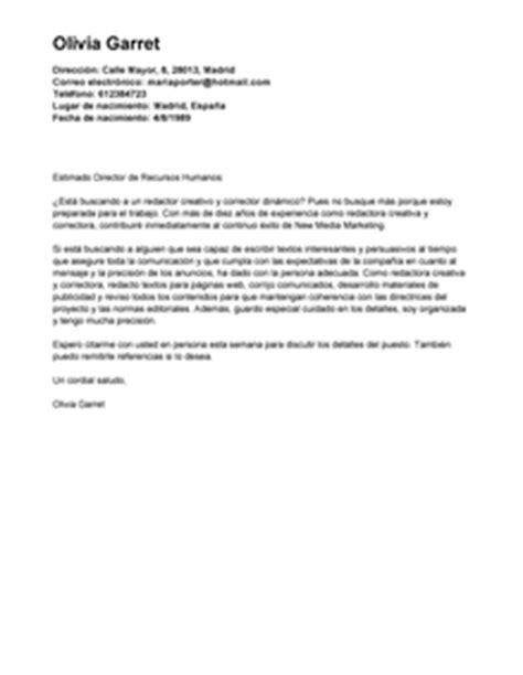Modelo De Carta De Presentacion De Un Curriculum Vitae Modelo De Carta De Presentaci 243 N Redactor Creativo Redactor Creativo Ejemplo Livecareer