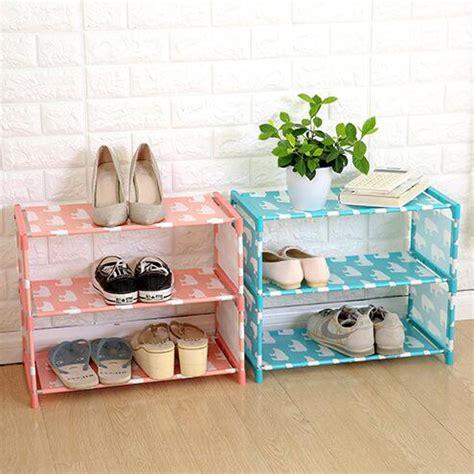 Rak Sepatu Susun 3 rak sepatu 3 susun diy motif beruang blue
