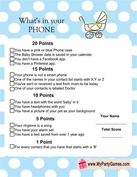 free printables for baby shower games what s in your phone baby shower game